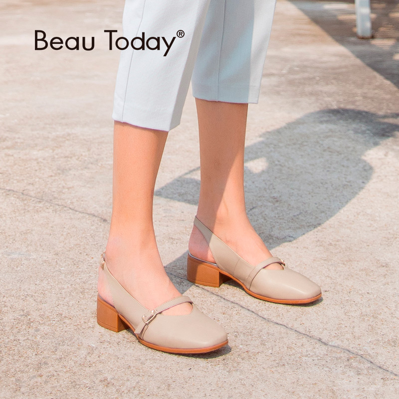 BeauToday Women Sandals Calfskin Square Toe Buckle Strap Genuine Leather Summer Ladies Shoes High Quality Handmade