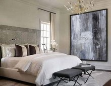 Large original abstract oil painting, Contemporary Art Handpainted wall Art, decor, Black white Oil painting grey, large