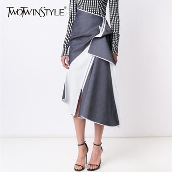 TWOTWINSTYLE Irregular Falda Mujer Cintura entallada cremallera Patchwork  de cintura alta Falda Midi faldas de la primavera de 2018 de ropa de moda ffa2bedb3291