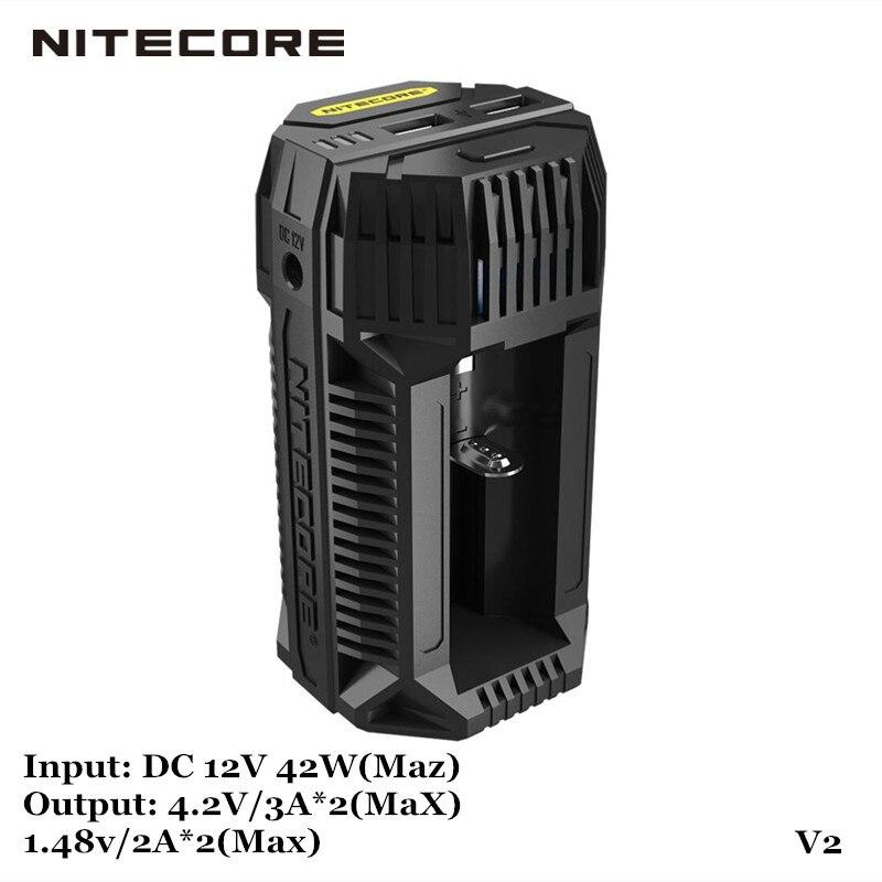 Nitecore V2 deux fentes cadre résistant PC matériel 3A 6A Li ion NIMH NICd Rechargeable USB voiture chargeur de batterie
