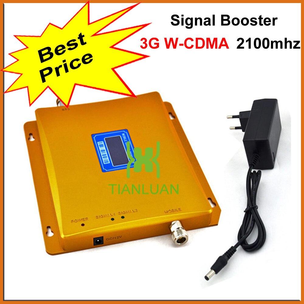 Mejor Precio W-CDMA 2100 MHz señal de teléfono móvil de UMTS teléfono celular 3G repetidor de señal con adaptador de alimentación LCD pantalla/oro