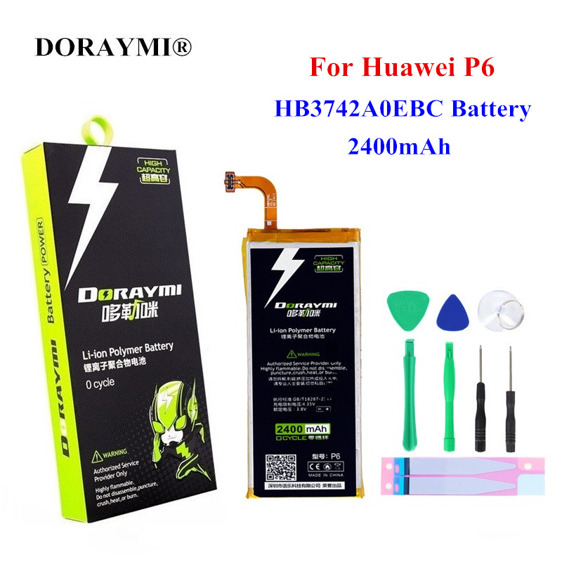 DORAYMI <font><b>HB3742A0EBC</b></font> Replacement <font><b>Battery</b></font> 2400mAh for <font><b>Huawei</b></font> Ascend P6 P6-U06 p6-c00 p6-T00/ G6 G620 G621 <font><b>G620s</b></font> G630 Bateria image
