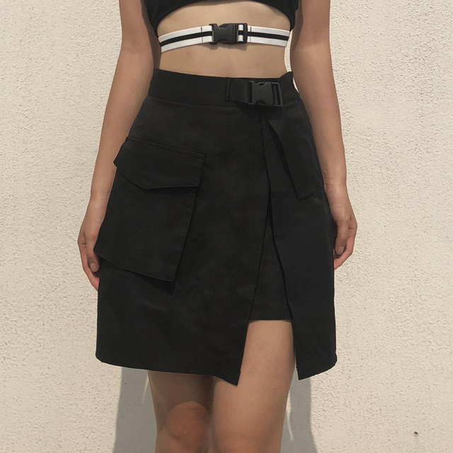 Women's A-Line Skirt with Plastic Buckle