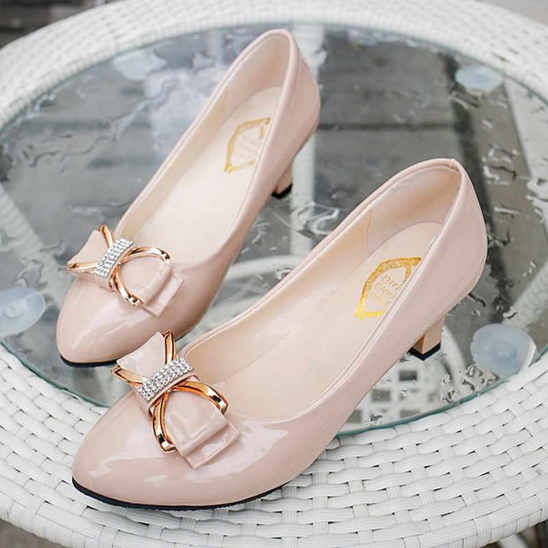 Sexy cao gót phụ nữ giày da láng giày cao gót bơm Bướm-knot giày phụ nữ zapatos mujer tacon ladies wedding giày