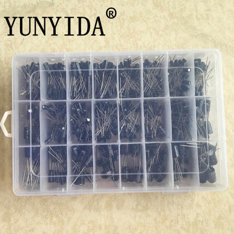 500 قطعة/الوحدة 0.1 فائق التوهج-1000 فائق التوهج 24 قيم المكثفات الإلكتروليتية من الألومنيوم 16-50 فولت مجموعة متنوعة من المكثفات الإلكتروليتية ومجموعة تخزين