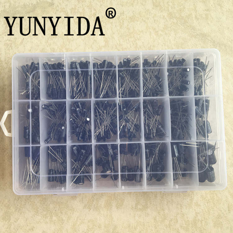 500Pcs/lot 0.1UF-1000UF 24Values Aluminum Electrolytic Capacitors 16-50V Mix Electrolytic Capacitor Assorted Kit And Storage Box