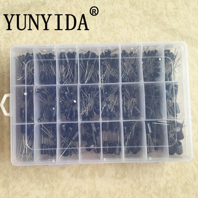 500Pcs/lot 0.1UF-1000UF 24Values Aluminum Electrolytic Capacitors 16-50V Mix Electrolytic Capacitor Assorted Kit And Storage Box