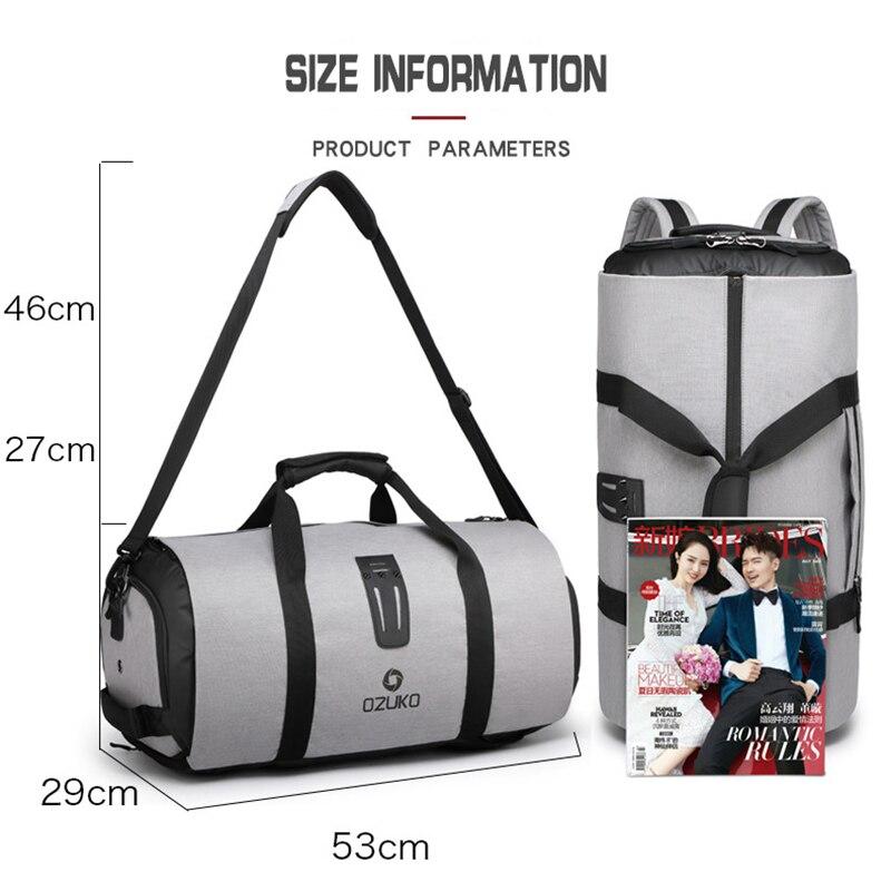 OZUKO sac à dos de voyage pour hommes costume stockage grande capacité voyage sac à main multifonction étanche voyage Mochila avec poche à chaussures - 6