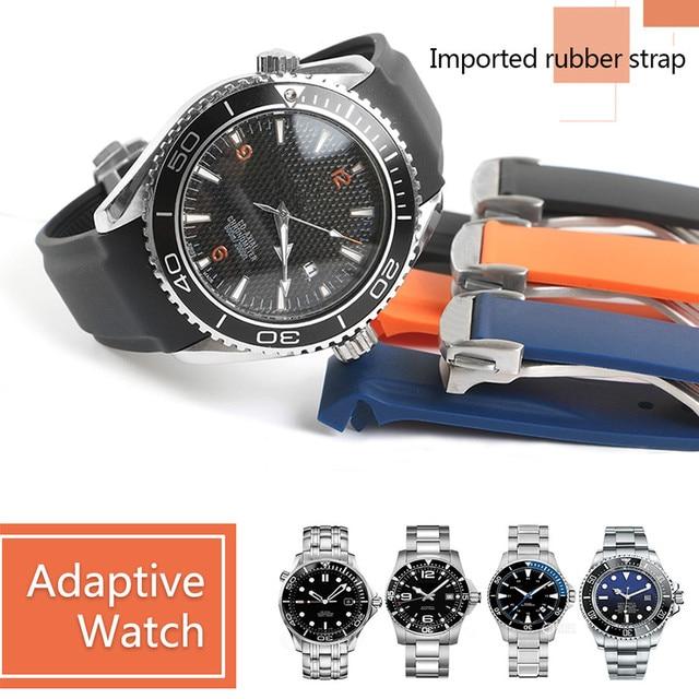 עמיד למים רצועת השעון גומי סיליקון רצועת עבור אומגה AT150 20mm 22mm ים מאסטר 300 שחור כחול אוקיינוס ספורט גבר 8900 + כלים