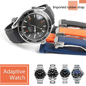 Image 1 - Correa de silicona de goma para reloj resistente al agua, para Omega AT150, 20mm, 22mm, Sea Master 300, negro, azul, Ocean Sports Man 8900 + herramientas