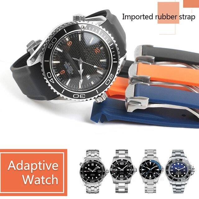 Correa de silicona de goma para reloj resistente al agua, para Omega AT150, 20mm, 22mm, Sea Master 300, negro, azul, Ocean Sports Man 8900 + herramientas