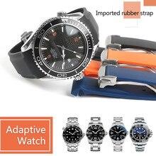 Waterdichte Horlogeband Rubber Siliconen Band Voor Omega AT150 20 Mm 22 Mm Sea Master 300 Zwart Blauwe Oceaan Sport Man 8900 + Gereedschap