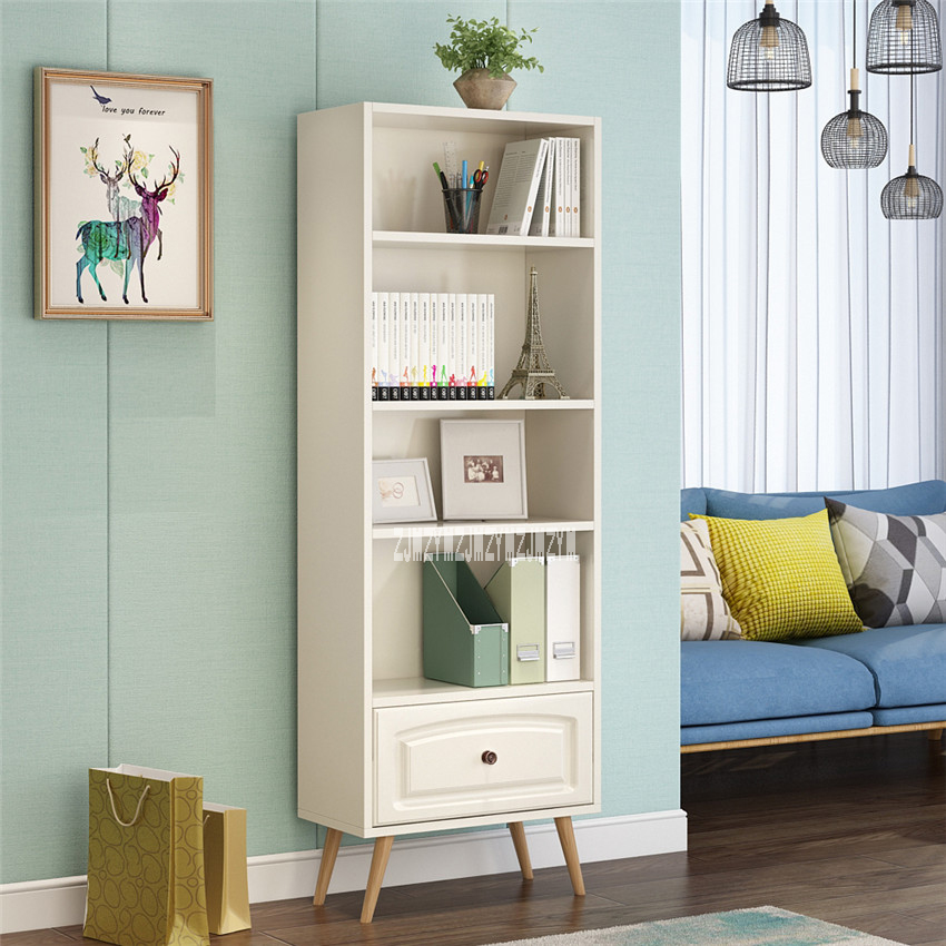 4-Layer Wooden Bookshelf Simple Solid Wood Bookcase Children Open Type Cabinet Locker Wooden Bookrack Bookstack With Drawer