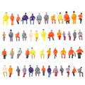 Colorful People Model 50Pcs 1:87 Scale Painted Model Toy Figures Train Passengers Model Seated People Building Layout