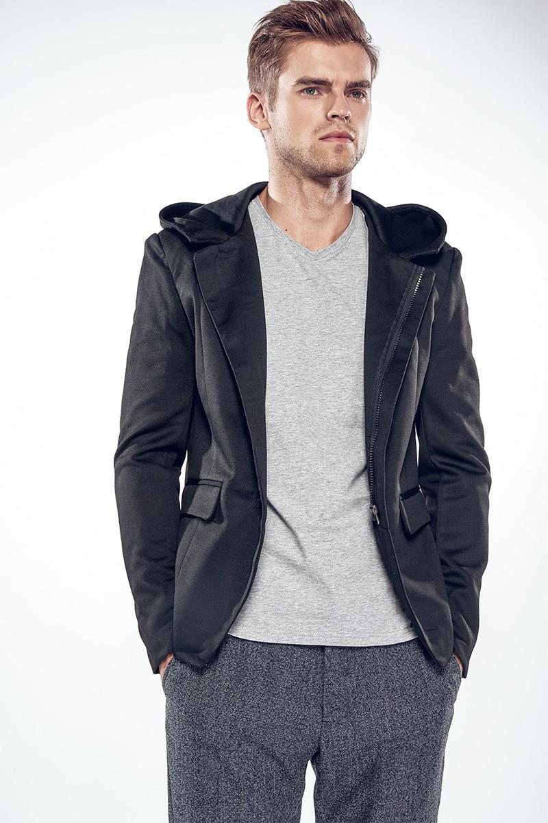 2017 New Arrival Men Casual Suit With Hoody High Quality Slim fit Men Blazer Fashion Design jackets men blazer masculino