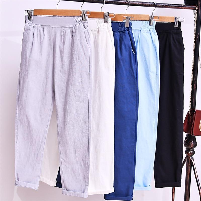 2018 nueva cintura alta, delgada Haren pantalones, verano algodón, cáñamo, pantalones casuales, estudiantes Lino, nueve pantalones, mujeres delgadas.