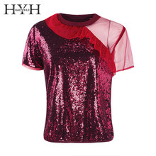 HYH Haoyihui Women T-shirt Short Sleeve Patchwork Falbala Sequin Grenadine Summer Tops Casual Sweet Brief 2018 New Arrival