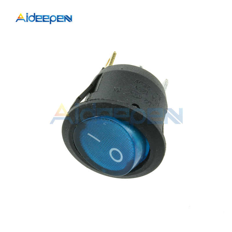 AC 250V 6A 125V 10A Mini 3 Pin Interruptor de luz LED barco redondo Rocker ON/OFF botón interruptor azul amarillo rojo verde negro