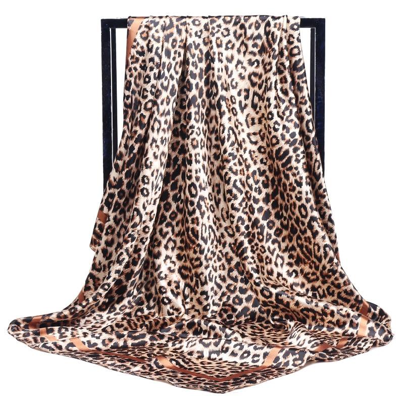 Luxury Silk Scarf Fashion Foulard Satin Shawl Scarfs Leopard 90*90cm  Square Silk Head Scarves Women Bandana