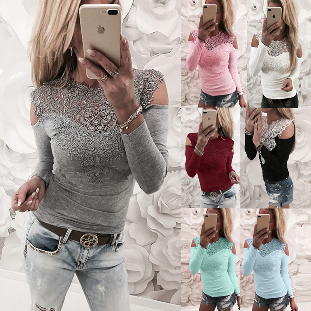 Hot Hot Sale Sexy   Shirt   New Women Solid Lace Cold Shoulder Long Sleeve Slim   Blouse   Top   Shirts   2019 Elegant   Shirt   Female Clothes