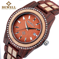 BEWELL 2019 Legierung Holz Uhr Frauen Luxus Runde Quarz Armbanduhren Für Frauen Mit Kalender Auto Datum Handgelenk Uhren 1052A