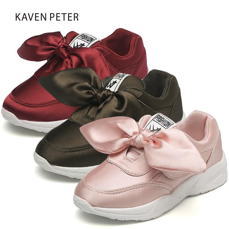 2017 가을 여성 소년과 소녀 신발 패션 실크 bowknot 어린이 운동화 아이 캐주얼 스니커즈 여자 아이 부드러운 체육관 신발