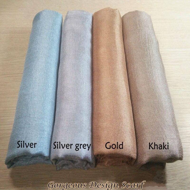Luxury Women Scarf Shimmer Plain Scarves Silklike Soft Muslim Head Hijab Gorgeous Pashmina Echarpe Wrap Fashion Muffler Hot Sale