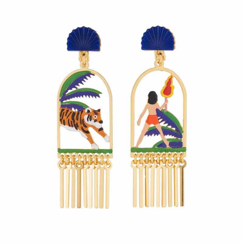 2019 Amybaby Handmade Enamel Glaze Forest Little Boy Tiger Womens Drop Earrings Jewelry For Party