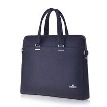 Male Business Bag PU Leather Handbag  Designers Brand Blue Tote Retro Vintage Laptop Briefcase