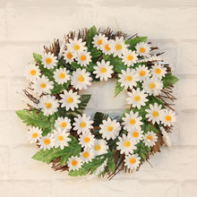 35cm White Small Sun Silk Flower Wreath Hanging Artificial Sunflower Front Door Window Wall Decor