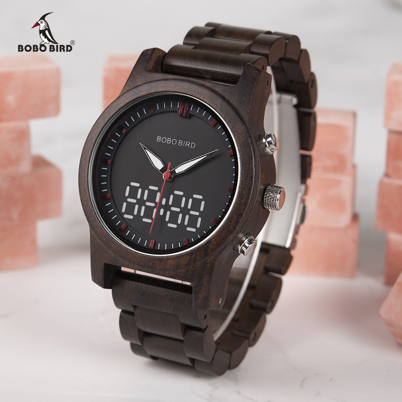 BOBO BIRD Men Watches 2018 Luxury Brand LED Digital Quartz Double Display Wood Mens Watch relogio masculino OEM Drop Shipping bobo bird men and women wood watches with genuine leather strap calendar display watch role men relogio masculino drop shipping