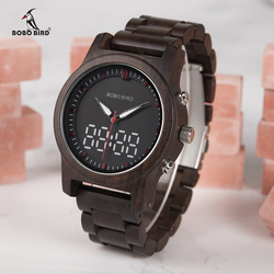 BOBO BIRD Men Watches 2018 Luxury Brand LED Digital Quartz Double Display Wood Mens Watch relogio masculino OEM Drop Shipping
