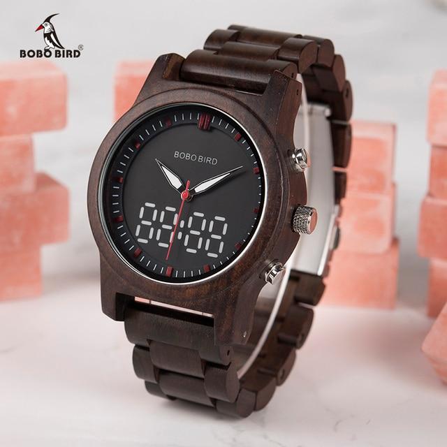 BOBO BIRD Men Watches 2018 Luxury Brand LED Digital Quartz Double Display Wood Mens Watch relogio masculino OEM Drop Shipping