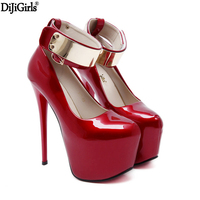 New Red Women Patent Leather Pumps Sexy Platform High Heels Elegant Bridal Shoes Gold Ankle Buckle