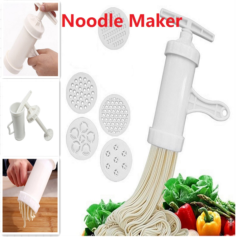 Manual Noodle Maker Press Pasta Maker Machine Crank Cutter Cookware With 5 Pressing Molds Making Spaghetti Kitchen Cooking Tools image