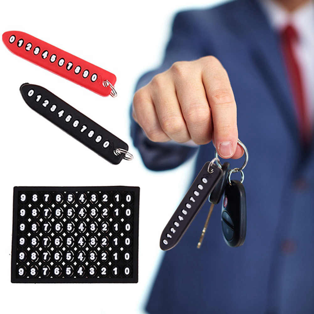 Anti-lost Phone Number Plate Car Keychain Pendant Auto Vehicle Phone Number Card Keyring Key Chain Car Interior Decoration