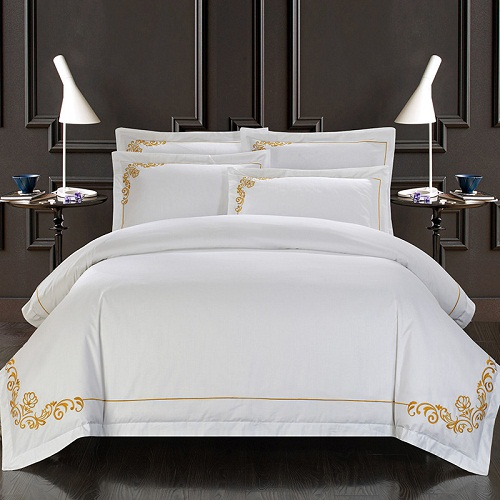 100% Cotton White Embroidered Hotel Bedding Set 4/6Pcs King Queen Size Luxury Hotel Duve ...