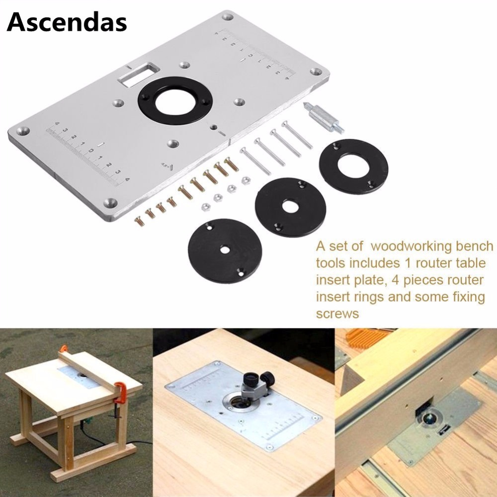 Universal 700c Aluminum Router Table Insert Plate With 4pcs Router