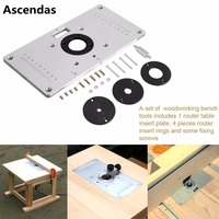 Universal 700C Aluminum Router Table Insert Plate With 4pcs Router Insert Rings For DIY Woodworking Tools TP 105
