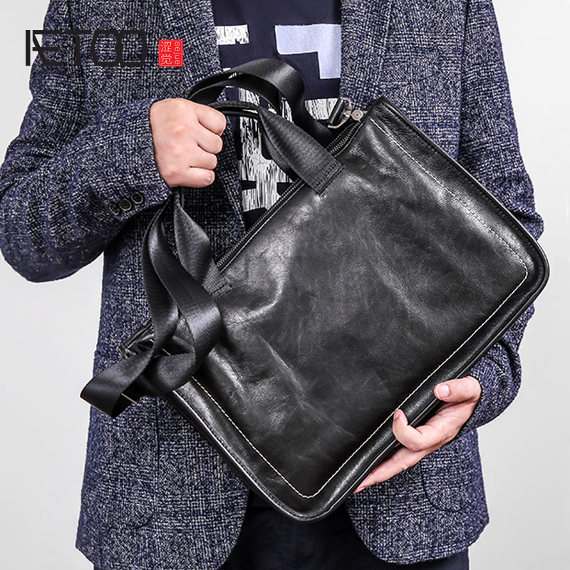 Image 2 - AETOO Leather handbag men's soft leather diagonal bag casual men's first layer leather shoulder briefcase-in Briefcases from Luggage & Bags