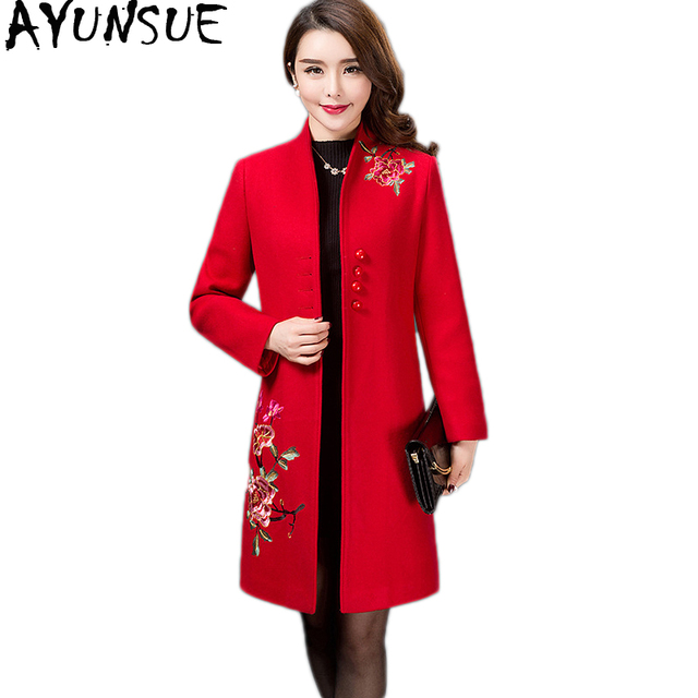 601f8b0a5c880 AYUNSUE Abrigos Mujer Invierno 2018 Plus Size Wool Coat Embroidery Red Coats  Femme Chinese Style Winter Coat Women Casaco KJ189