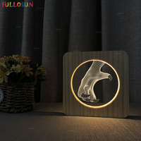 Nordic Gift Dinosaur Model LED Wood Desk Lamp Warm Color USB Sleeping 3D Nightlight Cool Men's Christmas Gift