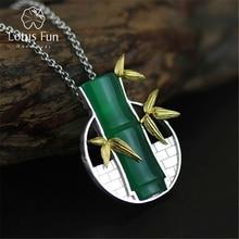 Lotos zabawy prawdziwe 925 srebro naturalny chalcedon Handmade Fine Jewelry bambusa wisiorek bez naszyjnik Acessorios dla kobiet