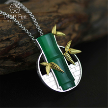 Lotus Fun Real 925 Sterling Silver Natural Chalcedony Handmade Fine Jewelry Bamboo Pendant without Necklace Acessorios for Women
