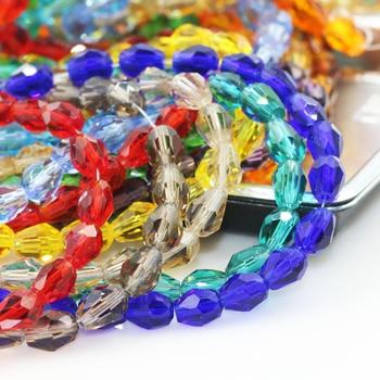 Cuentas de cristal de gota de lágrima 10*15MM (50 unids/lote) Cuentas de gota de cristal de Color mezclado Agujero Recto cuentas de piedras de cristal facetadas para joyería