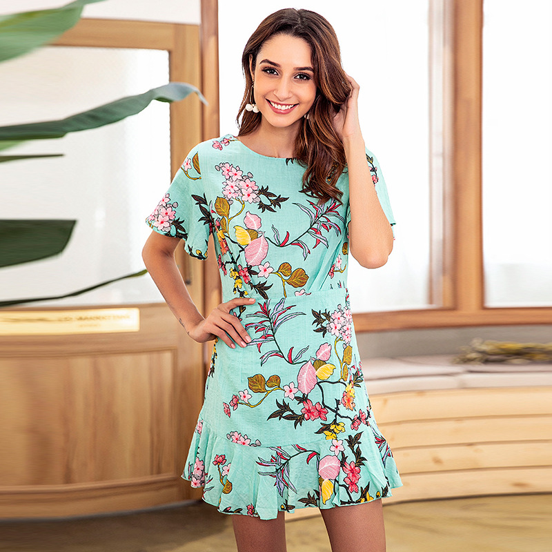 Yovamoo 2018 Summer Vintage Green Floral Print Dress O neck Short Sleeve Beach Holiday Fashion Ruffle Dresses Women 39 s Clothing in Dresses from Women 39 s Clothing