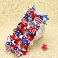 12 unids/lote 3.5 Pulgadas cuarto De Julio de Arco de La Cinta Con Clip Del Pelo para Niños Niñas Accesorios de La Bandera Americana Del Arco Del Pelo Pernos de Pelo Headwear
