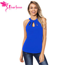 Dear Lover 2019 Women's Summer Sleeveless Halter Sexy Cut Out Keyhole Back Tank Tops Black Blue Pink Red LC250791