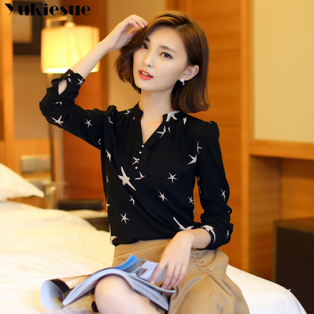 Summer 2019 Blouses Women's Tops Office Work Elegant Chiffon Shirts black Slim Blouse Casual Long Sleeve Plus Size White Shirt 3
