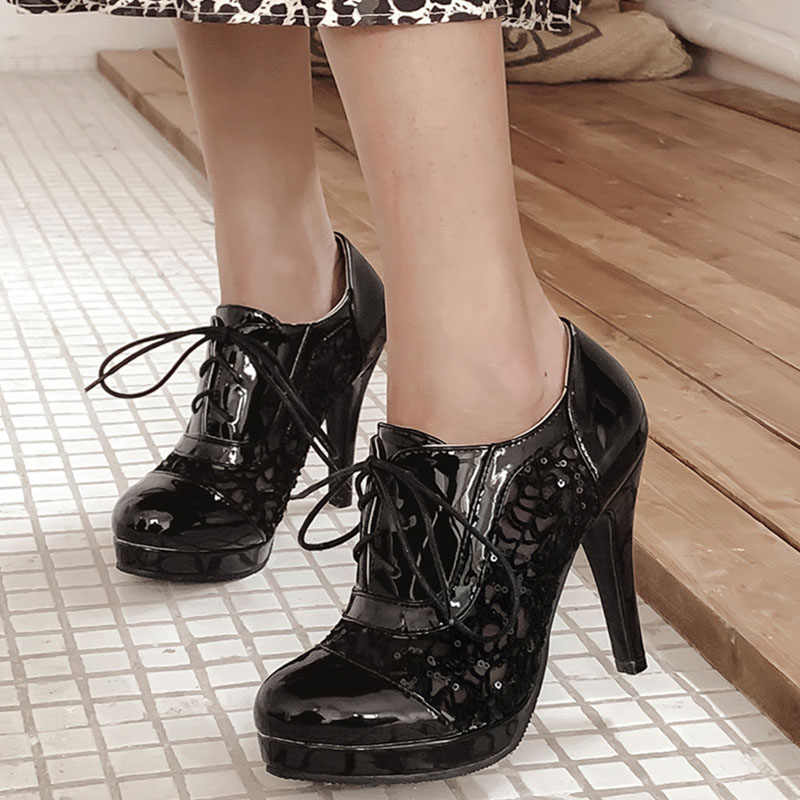 BONJOMARISA 2020 yeni kadın dantel pompaları dantel-up yaz nefes ayakkabı zarif platformu tarihi ayakkabı kadın büyük boy 34 -43